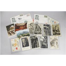 A Collection of World War II Postcards and First Day Issue Envelopes.