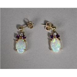 A Pair of Ladies 14 kt Yellow Gold, Opal and Amethyst Drop Earrings,