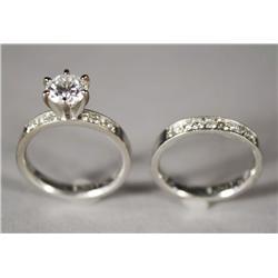 A Ladies Diamond Bridal Ring Set.