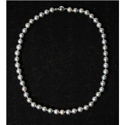 A Single Strand of Tahitian Grey with Pink Overtone Pearl Necklace, 8mm.