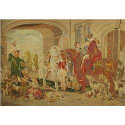 A 19th Century Continental Needlepoint Tapestry Depicting a Hunting Party with Falcons, Dogs, Horses
