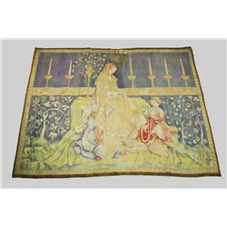 A Flemish 19th Century Tapestry, Depicting a Mother with Children at Play.