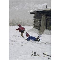 Allen Sapp Canadian RCA [b. 1929]MINIATURE #3acrylic on canvas7 x 5 in. (17.8 x 12.7 cm)signedProven