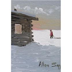 Allen Sapp Canadian RCA [b. 1929]MINIATURE #2acrylic on canvas7 x 5 in. (17.8 x 12.7 cm)signedProven