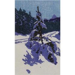 Walter Joseph Phillips Canadian ASA, CPE, CSPWC, MSA, RCA [1884-1963]WINTER ROAD; 1946colour woodcut