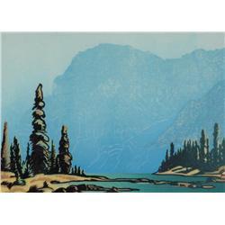 Margaret Dorothy Shelton Canadian ASA, CPE, CSGA [1915-1984]TWIN LAKES ON STORM MOUNTAINlinocut in 4
