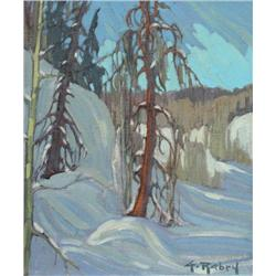 Gaston Rebry Canadian [1933-2007]LOIN PAISIBLE; 1988oil on canvas12 x 10 in. (30.5 x 25.4 cm)signed,