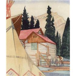 Walter Joseph Phillips Canadian ASA, CPE, CSPWC, MSA, RCA [1884-1963]CORRAL AT BANFF; 1941colour woo