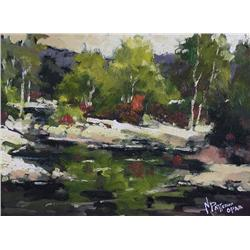 Neil Patterson Canadian ASA, FCA, OPA [b. 1947]AT FLORENCE BRIDGEoil on canvas9 x 12 in. (22.9 x 30.