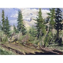 Oresetes (Rick) Nicholas Grandmaison Canadian [1932-1985]MOUNT RUNDLE THROUGH THE TREES; 1950oil on