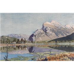 Walter Joseph Phillips Canadian ASA, CPE, CSPWC, MSA, RCA [1884-1963]MOUNT RUNDLE; 1951colour woodcu