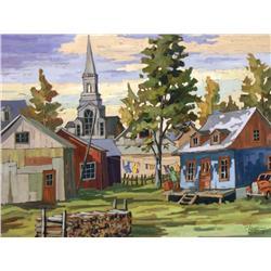 Claude Langevin Canadian [b. 1942]JOURNEE DE LESSIVE (PRES DU QUEBEC)acrylic on canvas27 x 35 in. (6