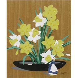 Alfred Joseph Casson Canadian CGP, CSPWC, G7, OSA, RCA [1898-1992]DAFFODILS AND DELFT FIGURINEcolour