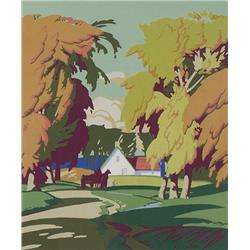 Alfred Joseph Casson Canadian CGP, CSPWC, G7, OSA, RCA [1898-1992]FALL, COUNTRY ROAD WITH DRIVER AND