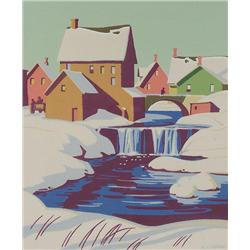 Alfred Joseph Casson Canadian CGP, CSPWC, G7, OSA, RCA [1898-1992]WINTER TOWN WITH WATERFALL AND BRI
