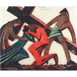 Sybil Andrews Canadian CPE [1898-1992]VIA DOLOROSA; 1935linocut in three colours; ed. #30/608.25 x 9