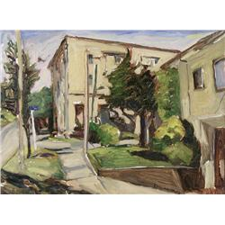James Edward Gordaneer Canadian CSPWC, RCA [b. 1933]MAY STREET AT LINDEN; 2002oil on panel18 x 24 in