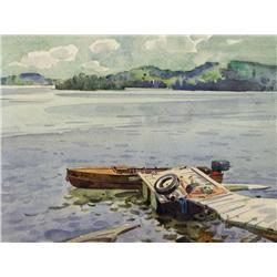 William Maltman Canadian CSPWC [1901-1971]SUNBATHING, HOLLOW LAKE; 1958watercolour on paper10 x 13.5