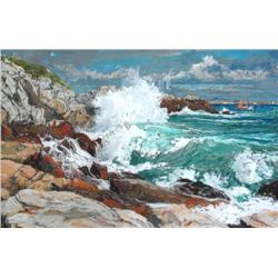 Horace Champagne Canadian PSA, PSC [b. 1937]SUNSHINE AND BIG OCEAN SWELLS; 2008pastel on paper17 x 2