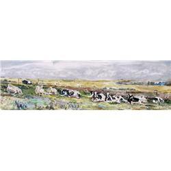 Rebecca Perehudoff Canadian [b. 1953]ALLONGEES; 1988acrylic on canvas17.25 x 57 in. (43.8 x 144.8 cm
