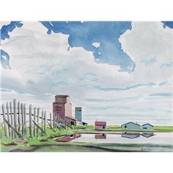 Robert Newton Hurley Canadian [1894-1980]SLOUGH BY THE ELEVATORS; 1949watercolour on paper9 x 12 in.