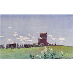 Walter Joseph Phillips Canadian ASA, CPE, CSPWC, MSA, RCA [1884-1963]GRAIN ELEVATOR AT LA SALLE, MAN