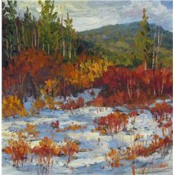 Dorothy Chisholm Canadian SCA [b. 1942]FIRST SNOW, KANANASKISoil on canvas14 x 14 in. (35.6 x 35.6 c
