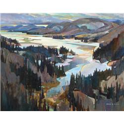 Brian Atyeo Canadian ASA, CSPWC, OSA [b. 1950]SPRING ICE, FRASER BAY; 1998acrylic on canvas48 x 60 i