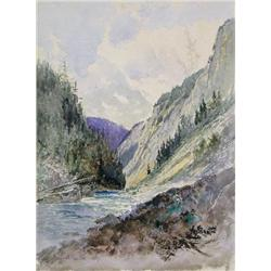 Frederic Marlett Bell-Smith Canadian OSA, RCA [1846-1923]ON THE RIVER, KICKING HORSE PASS; 1889water