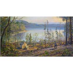 Adam Sherriff Scott Canadian RCA [1887-1980]DESCENDING TO A LAKESIDE CABIN oil on canvas20.25 x 36.2