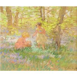 Gertrude Des Clayes Canadian RCA [1879-1949]CHILDREN GATHERING BLUEBELLSpastel on paper9.5 x 11.5 in