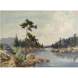 Reginald Llewellyn Harvey Canadian ASA [1888-1963]SUMMER LANDSCAPE WITH WINDING CREEKwatercolour on