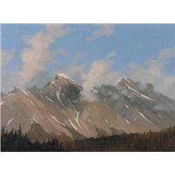 Karl E. Wood Canadian [1944-1990]MOUNTAIN PEAKSoil on canvas12 x 16 in. (30.5 x 40.6 cm)signedProven
