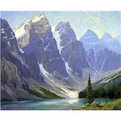Reginald Llewellyn Harvey Canadian ASA [1888-1963]MAJESTIC PEAKS AND MOUNTAIN LAKEoil on board40 x 4