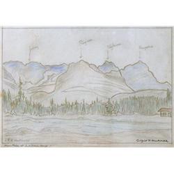 James Edward Hervey MacDonald Canadian G7, OSA, RCA [1873-1932]MOUNTAIN AT L. O'HARA CAMPcoloured pe