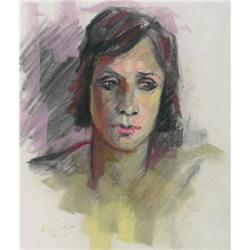 Armand Tatossian Canadian RCA [b. 1948]PORTRAIT OF A YOUNG WOMAN; 1975pastel on paper17 x 15 in. (43