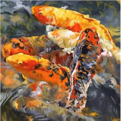 Gabor L. Nagy Canadian [b. 1945]KOI REFLECTIONSoil on canvas24 x 24 in. (61 x 61 cm)signed