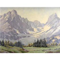 Reginald Llewellyn Harvey Canadian ASA [1888-1963]MOUNTAIN PEAKS AND ALPINE MEADOWoil on board18 x 2