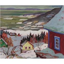 Claude Langevin Canadian [b. 1942]DEVANT LE FLEUVE, CHARLEVOIXacrylic on canvas10 x 12 in. (25.4 x 3