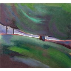 Barbara Milne Canadian [b. 1956]GREEN WALK II; 1984acrylic and oil on canvas24 x 26 in. (61 x 66 cm)