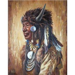 Marla Wilson Canadian [b. 1945]WALKING BUFFALO, STONEY; 1972oil on canvas24 x 20 in. (61 x 50.8 cm)s