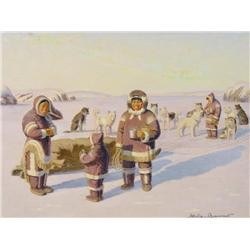 Thomas Harold Beament Canadian RCA [1898-1984]NORTHERN SCENE, TAKING A BREAK WITH THE DOGSLEDSoil on