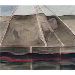 Joane Cardinal-Schubert Canadian ASA, RCA [1942-2009]BUFFALO LODGE; 1980mixed media on paper13.75 x