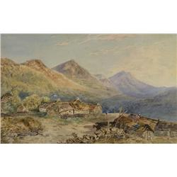 H. I. Darley Scottish [19th century]HIGHLAND CROFT WITH CATTLE; 1861watercolour on paper11 x 17.5 in