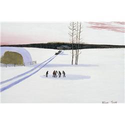 Allen Sapp Canadian RCA [b. 1929]PLAYING HOCKEY, EARLY EVENINGacrylic on canvas24 x 36 in. (61 x 91.