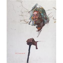 Nicholas de Grandmaison Canadian RCA [1892-1978]DAN WILDMAN, STONEY INDIAN, MORLEY, ALTA; 1938oil on