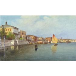 Eugenio Benvenuti Italian [1881-1959]CANAL SCENE, VENICEwatercolour on paper9.25 x 15.25 in. (23.5 x