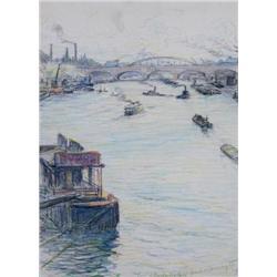 Frank Milton Armington Canadian MSA [1876-1941]PONT D'AUSTERLITZ, PARIS; 1916coloured pencil on pape