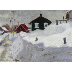 Horace Champagne Canadian PSA, PSC [b. 1937]ST-FERREOL-LES-NEIGES; 1982pastel on paper18 x 24 in. (4