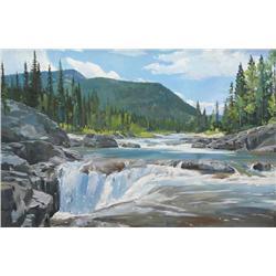 Enkhbold Dambadarjaa Mongolian [b. 1966]ELBOW RIVER FALLS; 2009oil on canvas24 x 36 in. (61 x 91.4 c
